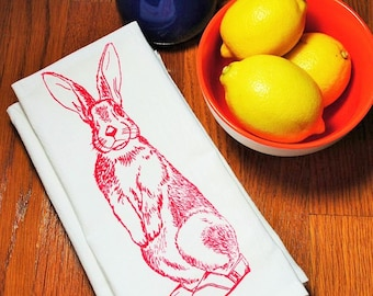 Cloth Napkins - Eco Friendly Screen Printed Cotton Cloth Napkins - Red Rabbit Cloth Dinner Napkin - Handmade - TOMS Shoes