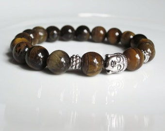 Tigers Eye Bracelet, Mens bracelet, Mens beaded bracelet, Buddha bracelet, Unisex, Spiritual jewellery, mens jewellery, UK seller