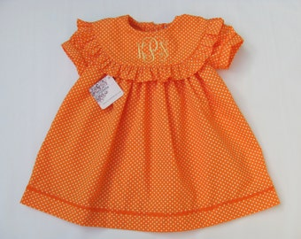 Monogrammed float dress for girls, Summer Monogram Dress, Spring Monogram Dress Orange dots, Toddler Dress, FREE Personalization 6M 4T 5T