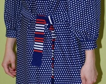 Cute Vintage Polka Dot Dress Polka dots dress Pin up dress / Retro dress Rockabilly dress / Mad Men / Medium Large / Puffy dress / Stripes
