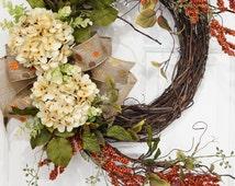 Grapevine Beige Hydrangea with Burnt Orange Berry Wreath.Year Round Wreath.Summer Wreath.Spring Wreath.Thanksgiving Wreath.Mothers Day Gft
