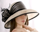 Ivory with black hat, widebrim hat,  Summer sun hat, Kentucky derby hat, Wedding Party hat, Royal Ascot hat, derby style hat, millinery