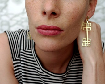 SALE 40% OFF !!! ANDRÉE_Geometric Art Deco style brass earrings