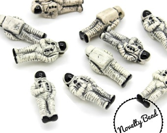 10 - Large - Astronaut Beads - Outer Space Beads - NASA - Novelty - Ceramic