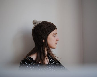 Hand knitted Wool Hat - Brown Beanie dipped in Light grey - Bobble Wool Hat