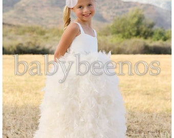Feather Flower Girl Dress, Flower girl dress feather, Floor Length Flower Girl Dress - VICTORIA - with CRYSTAL sash, Communion Dress
