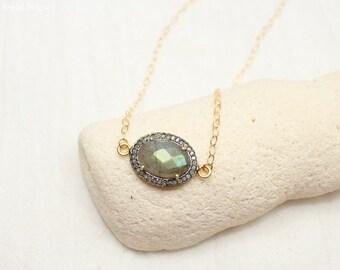 SALE Labradorite Pave Diamond Necklace, Oxidized Sterling Silver, Mixed Metals, Genuine Diamonds