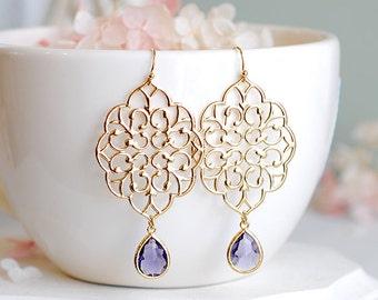Gold Filigree Earrings Purple Drop Earrings Tanzinite Amethyst Purple Glass Dangle Earrings Chanderlier Earrings Purple Wedding