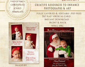 Holiday Photoshop Card Template,Christmas Card Photoshop Template,Christmas cards,Photoshop Templates,  custom cards, photo cards,- VC Santa