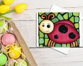 Ladybug Birthday Card - Red Ladybug on Green Background - Baby Shower Card, Baby Card, Invitation, Holiday Card - by Artist Kathy Lycka