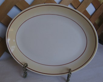 Homer Laughlin Oval Platter, Best China Restaurant Ware, White Tan and Brown Trimmed Platter, Made in USA
