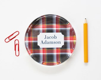 Personalized Paperweight Mens Desk Accessories Office Decor for Men Red Navy Tartan Custom Plaid Glass Paperweight Graduation Gifts for Boss