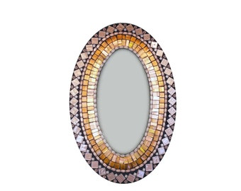 Oval Mosaic Mirror in Brown and Copper