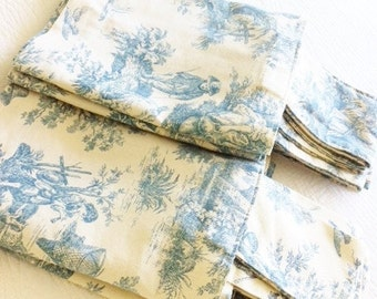 Vintage Romantic Home Shy Blue French Toile Curtain Valances, Set of Two, Shabby Chic, Olives and Doves