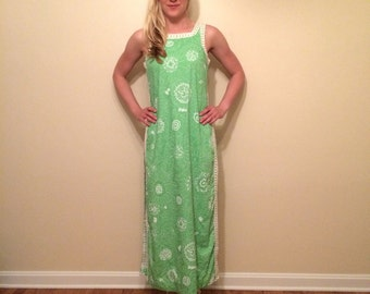1960s lime green white long slit dress floral pattern trim 2
