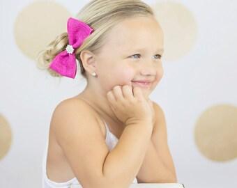 Pink Hair Bow, Burlap Hair Bow, Pink Burlap Bow, Bridal Hair Bow, Flower Girl Hair Bow, Bridesmaid Hair Bow, Fancy Hair Bow, Fancy Pink Bow