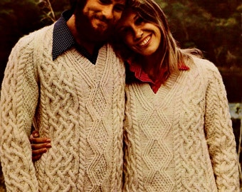 Aran Cable Pullover Vintage Knitting Pattern Instant Download