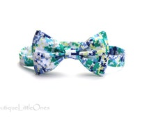 Wyatt Bow Tie 'Blue Yellow Green White Crosses Bow Tie Baby Bow Tie Baby Boy Cross-stitch Necktie Metallic Gold Dots Bow Tie Australia Made