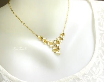 Gold Flower Necklace Gold Orchid Pendant Floral Gold Necklace Bib Necklace, Bridal Gift, Bridesmaid Gift