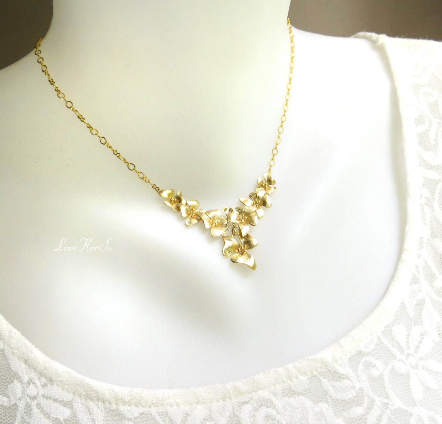 Gold Flower Necklace Gold Orchid Pendant Floral Gold Necklace