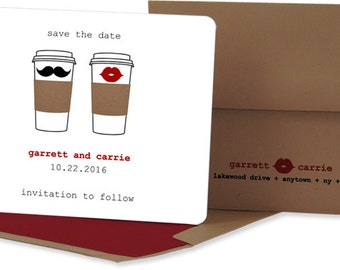 DIGITAL: Coffee Save the Date Card, Save the Date, Wedding Invitation, Save-The-Date, Mustache Save the Date card, Save the Date card