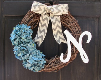 Blue Wreath with Initial, Wreath with Monogram, Wreath for Winter Door Decor, Personalized Wreath, Blue Hydrangea Wreath, Blue Door Decor