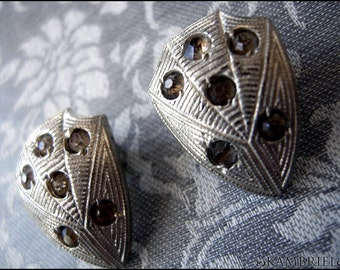 Vamp - Antique Art Deco Silver Plated Spiderweb Button Covers circa 1920 - matched pair with all original rhinestone crystals
