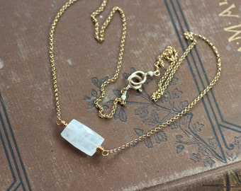 Moonstone Necklace Gold Necklace Moonstone Jewelry Rustic Jewelry Simple Rainbow Moonstone