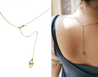 2 in 1 Lariat and Brass Bar Necklace