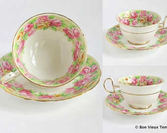 Vintage Fine Bone China Tea Cup & Saucer Pink Yellow Roses Pastel Chintz Gold Gilt by Royal Stafford