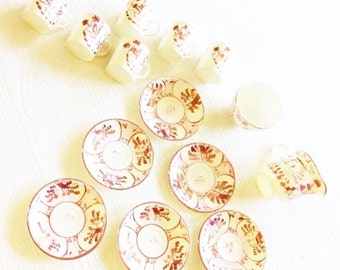 Vintage Shabby Chic Luminescent Pink Blush Expresso Set, Fourteen Piece Set, Romantic Home, Olives and Doves
