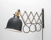 Scissor Lamp! Articulating Adjustable Brass Swing Sconce - Industrial Wall Mount Extension Bedside Reading Light -Style X1