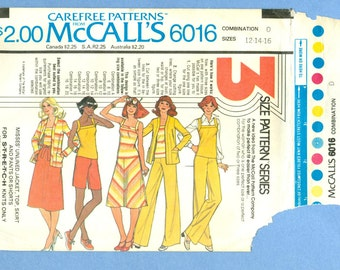 1978 Misses' Unlined Jacket, Top, Skirt and Pants or Shorts for Stretch Knits Only Size 12,14,16 - Vintage McCall's Sewing Pattern 6016