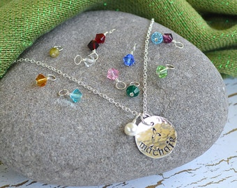 Mother (in Gaelic)- 'Máthair' Necklace in Sterling silver with One Pearl plus Birthstone(s)- One Necklace