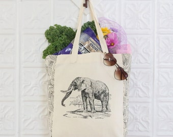 Elephant Tote Bag - Screenprinted Canvas Tote Featuring Jungle Print Contrast Panels & Elephant Design from The World Book, 1920