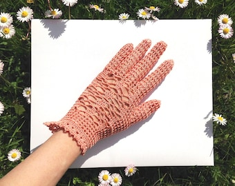 Spring Crochet Gloves . Summer Gloves . Hand Crochet Gloves . Bridesmaid Gloves . Fishnet Gloves