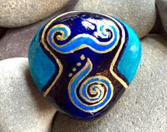 Goddess of the sea/ blue waters / painted rocks / painted stones, Sandi Pike Foundas / love from Cape Cod