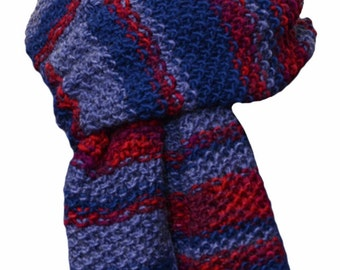 Hand Knit Scarf - Denim Navy Red Stripe Wool