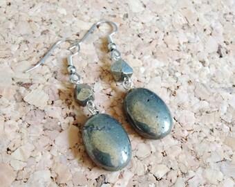 Pyrite Dangle Earrings/ Pyrite Jewelry/ Gemstone Earrings