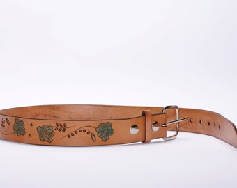 Feminine Turquoise Lily Stamped Leather Belt