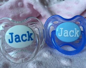 Two Personalized Baby Pacifiers