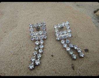 Formal Prom Wedding Bridal Jewelry Rhinestone Bling Dangle Earrings Flashy Statement