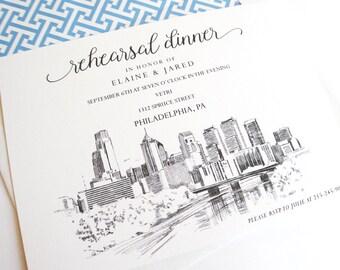 Philadelphia Skyline Rehearsal Dinner Invitations (set of 25 cards)