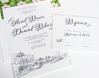 Hilo Hawaii Destination Wedding Invitation Package (Sold in Sets of 10 Invitations, RSVP Cards + Envelopes)
