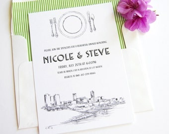 Fort Worth, Texas Skyline Rehearsal Dinner Invitations (set of 25 cards)