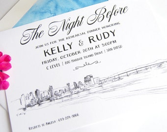 San Diego Skyline Rehearsal Dinner Invitations (set of 25 cards)