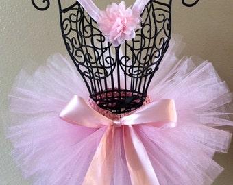 Light Pink Tutu, Pink Tutu, Baby Tutu, Pink Flower Headband, Infant Tutu, Toddler Tutu, Newborn Tutu, Birthday Tutu Set, Photo Prop