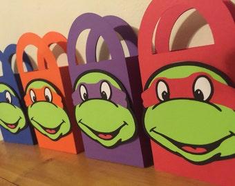 Teenage Mutant Ninja Turtle, TMNT Diecut Birthday Party Favor / Treat Bags / Containers - Set of 4