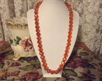 Orange vintage crystal ab necklace.