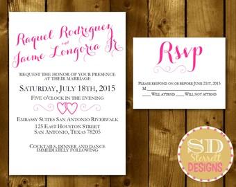 PRINTABLE // Wedding invitations // Shower Invitation // - Pink Elegant 3 piece - RSVP, Accommodations, Invitation
